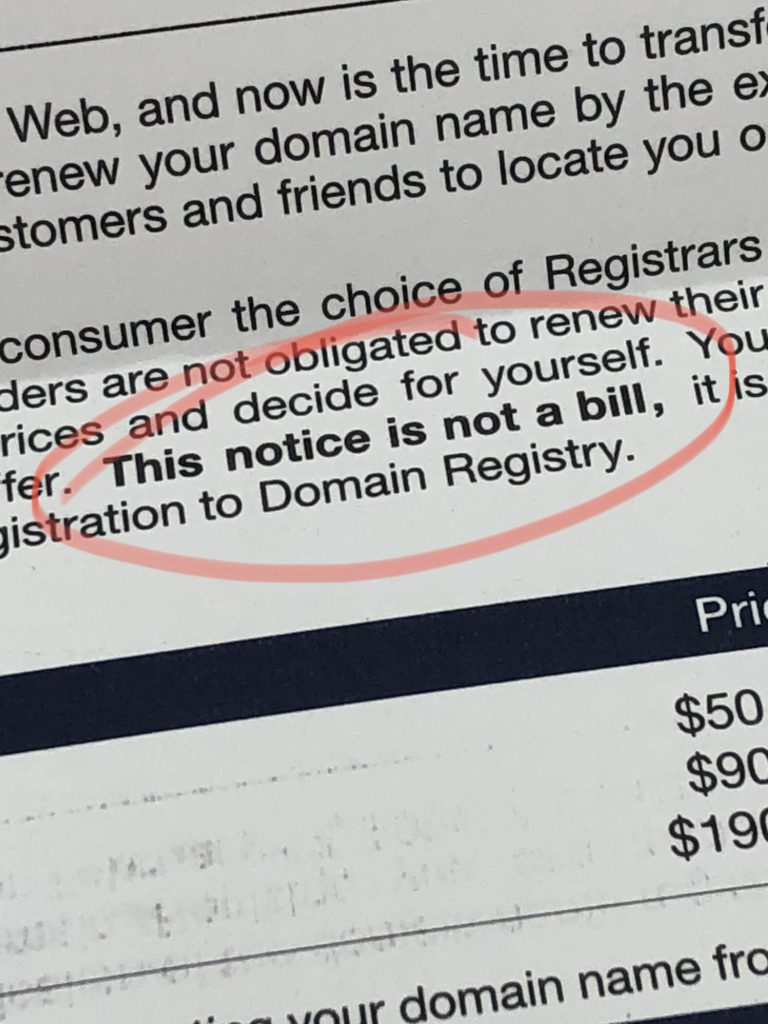 This Notice is not a bill