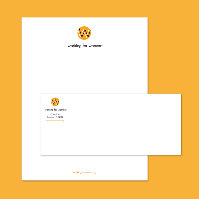 Letterhead and envelope for Working for Women