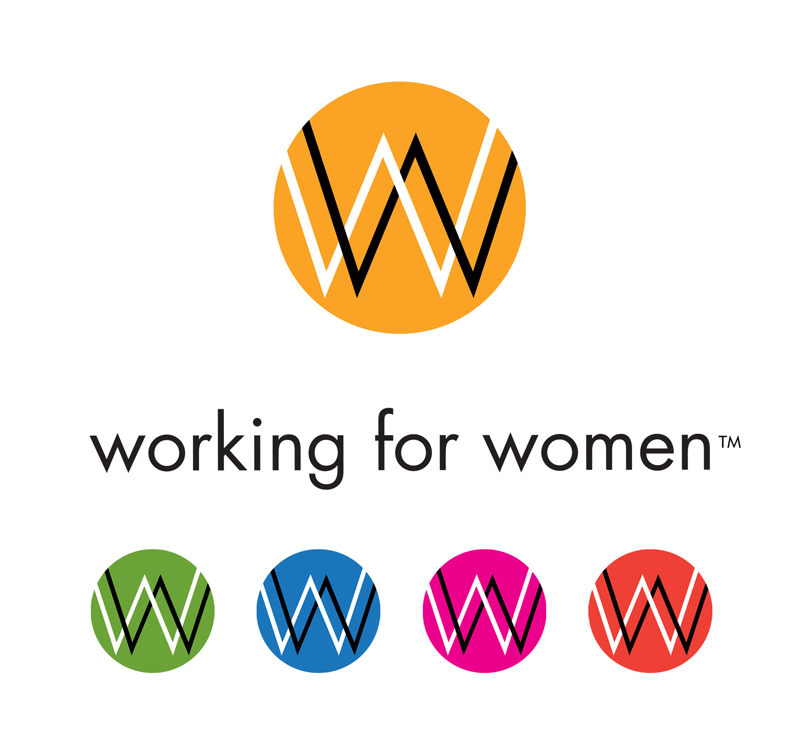 Working for women logo and icon in various colors