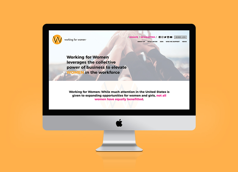 Desktop view of Working for Women website