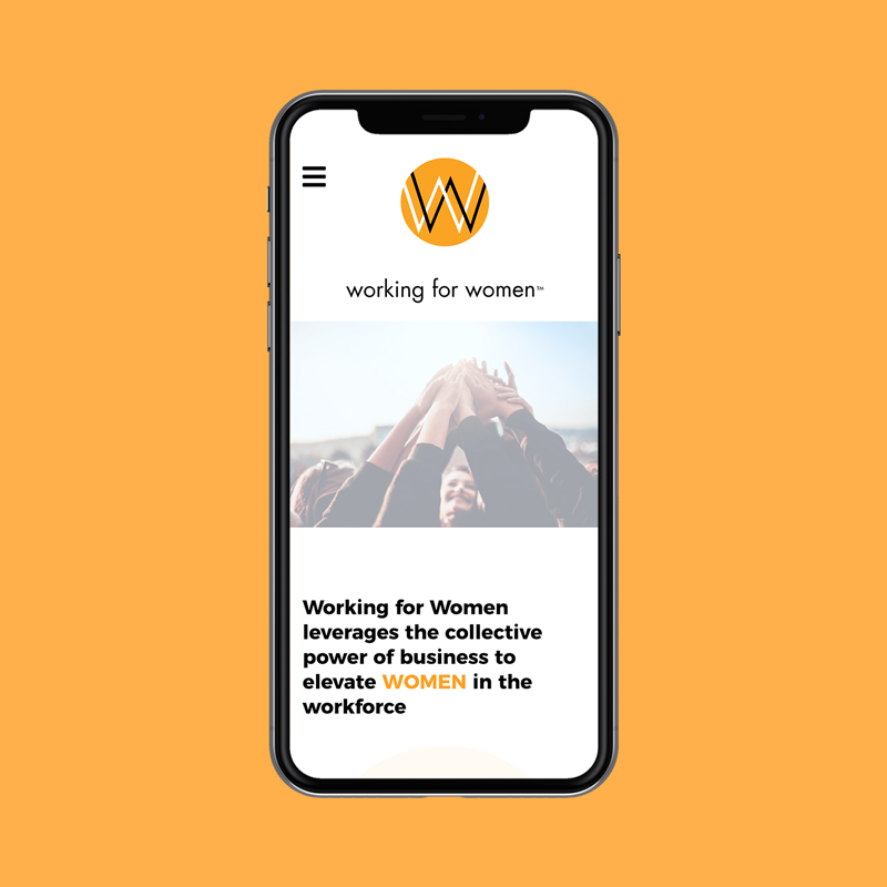 Mobile view of Working for Women website