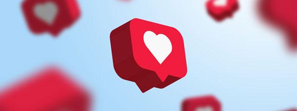 social caption with a heart